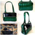 Fairlane Tote Bag - Green Glitter Vinyl / Grease Black Vinyl - Leopard Lining