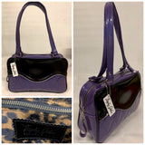 Diamond Pleat Tuck and Roll Tote Bag - Beatnik Purple Glitter Vinyl / Grease Black Vinyl -  Leopard Lining