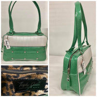 In Stock! Lincoln Tote - Sea Foam Green /  Pearl White - Leopard Lining