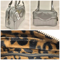 Tuck and Roll Tote Bag - Chrome Glitter Vinyl with / Leopard Lining