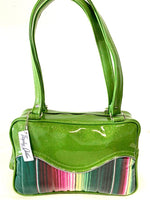 In Stock! Tuck and Roll Tote Bag - Mexican Blanket with Clear Overlay / Lime Glitter Vinyl - Leopard Lining