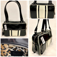 GTO Tote Bag - Grease Black Vinyl with White Glitter Stripes- Leopard Lining