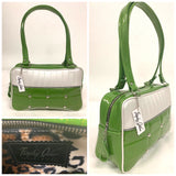 "Lincoln Tote in Lime Green Glitter and Pearl White Vinyl with Plush Leopard Lining. Matching vinyl zipper pull, nickel feet, inside zipper pocket with serial number and open divided pocket with signature Trophy Queen label. The straps are approximately 25"" and come with an extra set of replacement straps. Locally made and ships from California"
