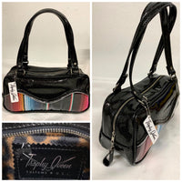 Tuck and Roll Shoulder Bag - Mexican Blanket with Clear Overlay / Coal Glitter Vinyl - Leopard Lining