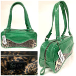 Tuck and Roll Shoulder Bag - Leopard with Clear Overlay / Sea Foam Green Glitter Vinyl - Leopard Lining