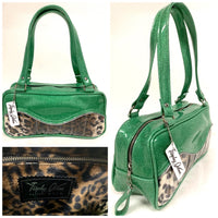 Tuck and Roll Shoulder Bag - Leopard with Clear / Sea Foam Green - Leopard Lining