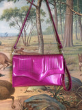 Clutch / Shoulder Bag With Mercury Pleating - Magenta Glitter Vinyl /  Aztec Print Lining