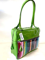 Fairlane Business Bag - Mexican Blanket with Clear / Lime Green Glitter Vinyl - Leopard Lining