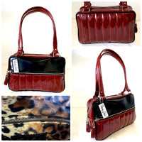 Fairlane Tote Bag - Red Glitter Vinyl / Grease Black Vinyl - Leopard Lining