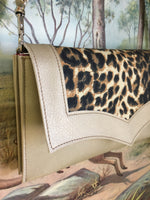 Clutch / Shoulder Bag - Gold Rush Vinyl & Leopard / Sangria Red Lining