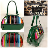 Lucky Strike Bowling Style Bag made with Dark Green Glitter and Mexican Blanket with Clear Overly Vinyl and lined with Plush Leopard inside with front zipper pocket, shoulder straps with extra set included inside has divided pocket, zipper pocket with hidden serial number inside and signature trophy queen label.