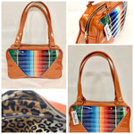 Comet Tote in Mexican blanket with clear overlay and tangerine glitter vinyl with plush leopard lining handcrafted in California with nickel hardware, an extra set of straps, vinyl zipper pull, inside open divided pocket, zipper pocket with serial number inside and signature Trophy Queen label.