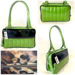 Fairlane Tote Bag - Lime Green Glitter Vinyl / Grease Black Vinyl - Leopard Lining
