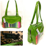 Tuck and Roll Tote Bag - Mexican Blanket with Clear Overlay / Lime Glitter Vinyl - Leopard Lining