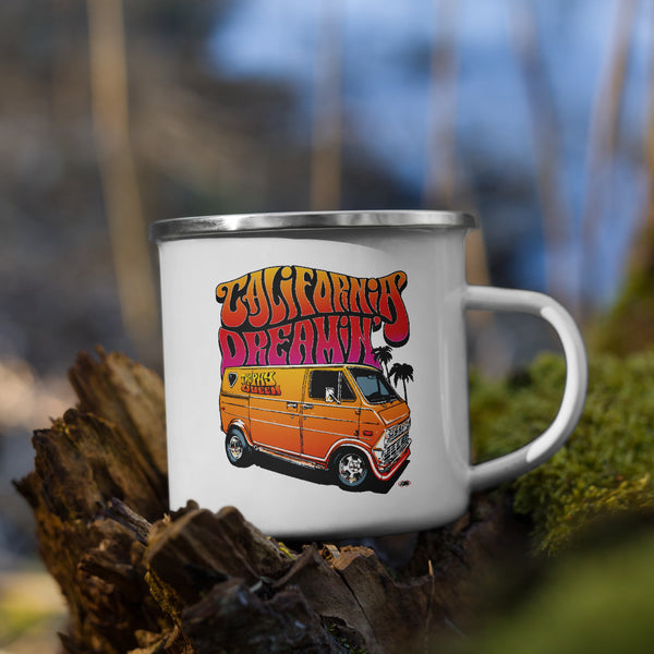 Every happy camper needs a unique camper mug and this California Dreamin' Artwork by American Artist Jason Cruz cup fits the bill! Lightweight, durable, and multifunctional this mug is perfect for your favorite beverage or a hot meal, and attach it to your bag for easy access on a hike or bike! White coating enamel with silver rim so hand wash only and don't pop it in the microwave!