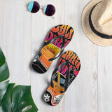 The perfect beach shoe, these California Dreamin' Artwork by American Artist Jason Cruz flip-flops with rubber soles and soft fabric lining these flip flops are sure to make you feel comfortable and look cool wherever your day takes you.