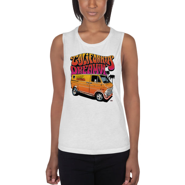 Trophy Queen California Dreamin' Logo by American Artist Jason Cruz low cut armhole relaxed tank top is super comfortable and flowy. Lightweight and curved bottom hem keeps you cool while looking cool in this muscle tank for ladies.