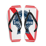 Prepare for an adventurous and carefree summer with a pair of colorful Trophy Queen Blue Ribbon logo with rubber soles and soft fabric lining these flip flops are sure to make you feel comfortable wherever your day takes you.