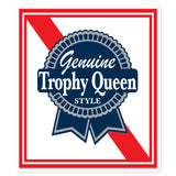 Trophy Queen Blue Ribbon Logo kiss cut stickers are printed on durable, high opacity adhesive vinyl which makes them perfect for regular indoor use as well as for covering other stickers or paint. The high-quality vinyl ensures fast and easy bubble-free application.
