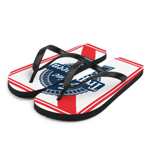 Prepare for an adventurous and carefree summer with a pair of colorful Trophy Queen Blue Ribbon logo with rubber soles and soft fabric lining these flip flops are sure to make you feel comfortable wherever your day takes you. Red, White and Blue