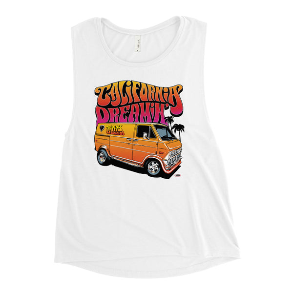 California Dreamin' Ladies Muscle Tank - White