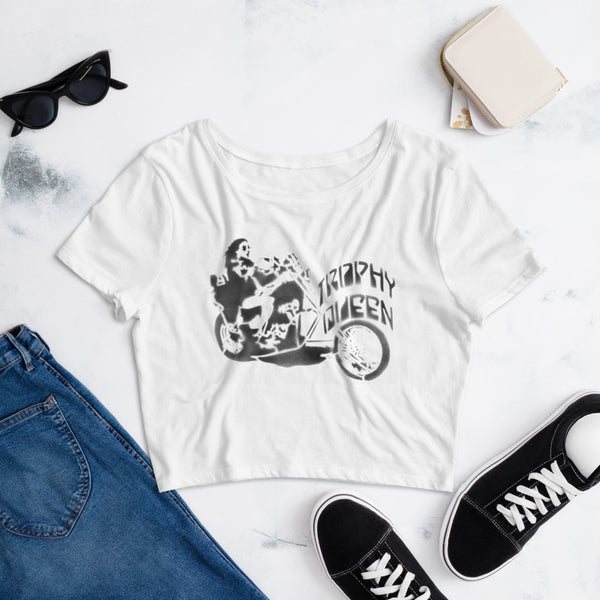 Chopper Stencil Art Crop Top T-Shirt