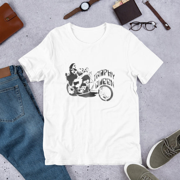 This t-shirt is everything you've dreamed of and more. Trophy Queen Chopper Stencil Art Logo by American Artist Scott Rocklandfeels is made of 100% combed and ring-spun cotton, soft, and lightweight, with the right amount of stretch. It's comfortable and flattering for both men and women with shoulder-to-shoulder taping. Perfect for all those biker babes and motorcycle men.