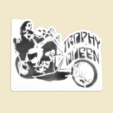 Trophy Queen Chopper Stencil Art by American Artist Scott Rockland kiss cut stickers are printed on durable, high opacity adhesive vinyl which makes them perfect for regular indoor use as well as for covering other stickers or paint. The high-quality vinyl ensures fast and easy bubble-free application.