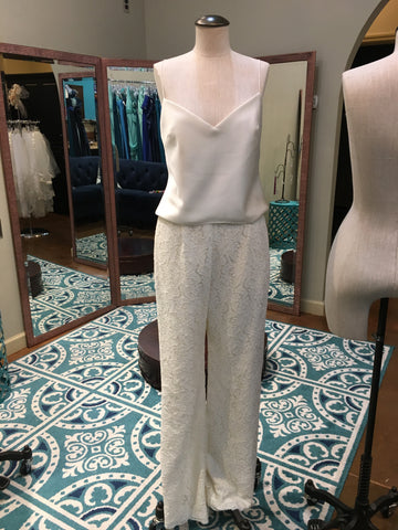 Willow by watters Size 6 Bridal pant suit lace & satin