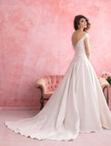 Size 2, Allure style 2801, diamond white satin ball gown