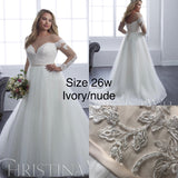 Christina wu size 26w plus size long sleeve wedding dress