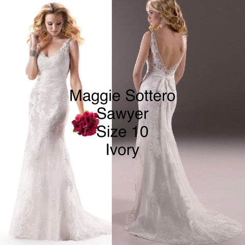 Maggie Sottero Sawyer size 10 in Ivory