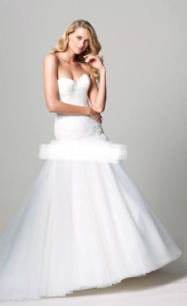 Wtoo Kylilah size 10 ivory drop waist mermaid tulle wedding dress