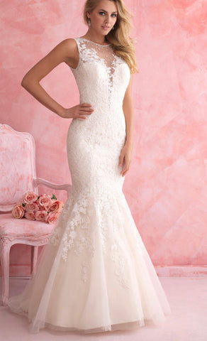 Allure 2807 size 8 ivory mermaid lace wedding dress