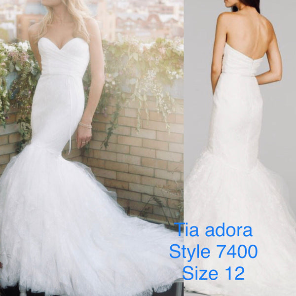 Tia Adora 7400 size 12 lace mermaid wedding dress