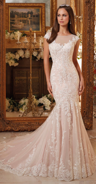 Mori lee 5466 plus size 24 lace illusion back wedding dredd