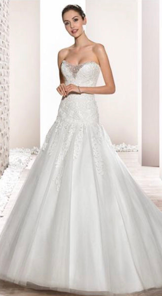 Demetrios style 684 size 6 ivory drop waist ball gown
