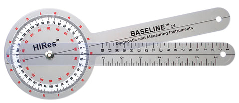 Baseline® Plastic Goniometer - HiRes™ 360 Degree Head - 12 inch Arms