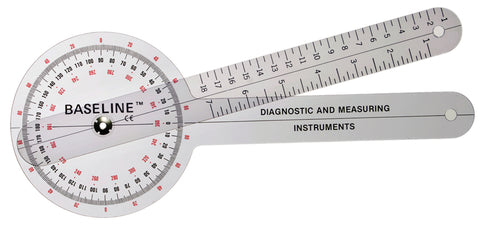 Baseline® Plastic Goniometer - 360 Degree Head - 12 inch Arms, 25-pack