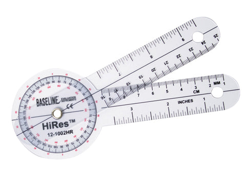 Baseline® Plastic Goniometer - HiRes™ 360 Degree Head - 6 inch Arms