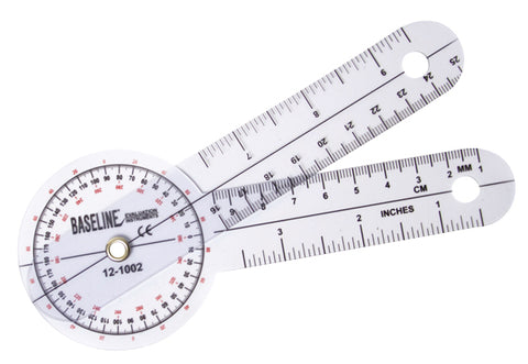 Baseline® Plastic Goniometer - HiRes™ 360 Degree Head - 12 inch Arms, 25-pack