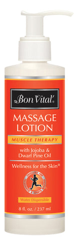 Bon Vital® Muscle Therapy Massage Lotion - 8 oz with Pump - Case of 12