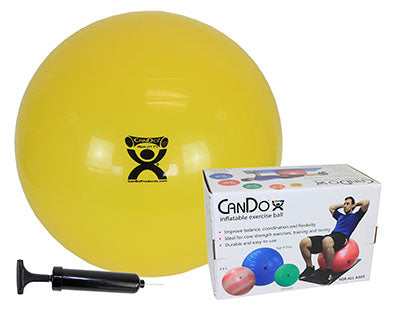 "CanDo® Inflatable Exercise Ball - Economy Set - Yellow - 18"" (45 cm) Ball, Pump, Retail Box"