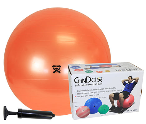 "CanDo® Inflatable Exercise Ball - Economy Set - Orange - 22"" (55 cm) Ball, Pump, Retail Box"