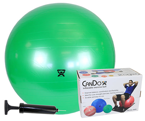 "CanDo® Inflatable Exercise Ball - Economy Set - Green - 26"" (65 cm) Ball, Pump, Retail Box"
