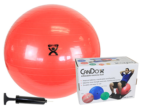 "CanDo® Inflatable Exercise Ball - Economy Set - Red - 30"" (75 cm) Ball, Pump, Retail Box"