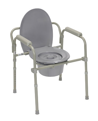 Commode with fixed arms, steel, adjustable height