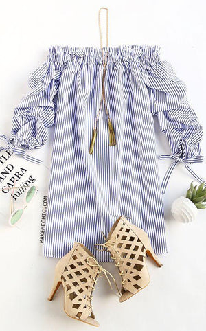 Off Shoulder Ladies Long Sleeve Casual Stripes Mini Dress - Hanerstravels