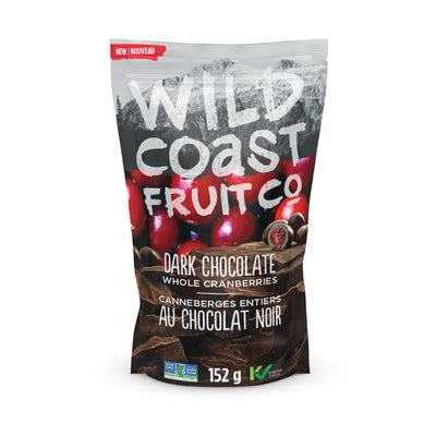 Wild Coast Dark Chocolate Whole Cranberries front package