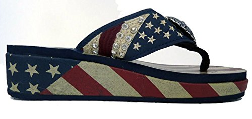 Ladies Flip Flops American Pride USA Flag Navy Blue
